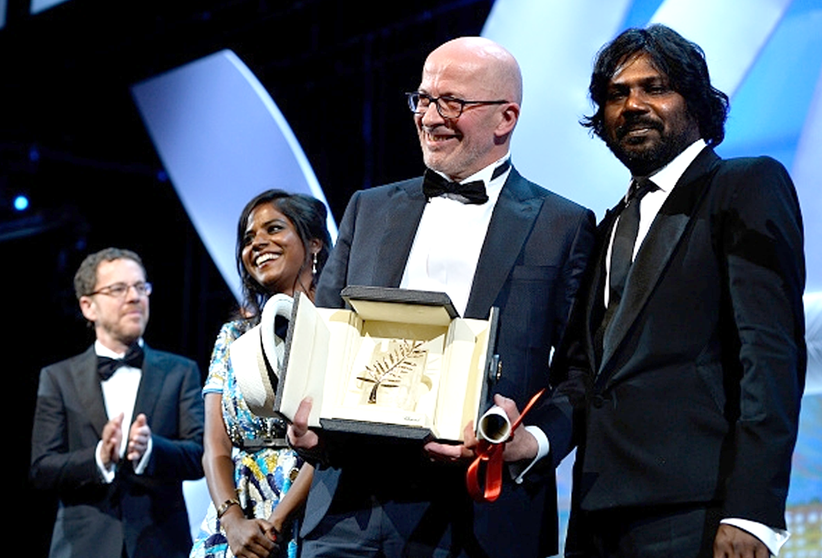 (L-R): Jury co-president Ethan Coen, Kalieaswari Srinivasan (Actress), Jacques Audiard (Director), and Jesuthasan Antonythasan (Actor)