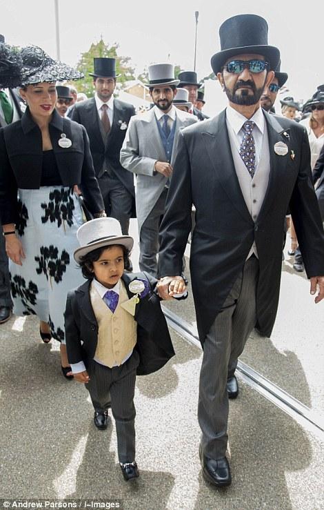 Sheikh Mohammed bin Rashid Al Maktoum, Princess Haya, Crown Prince of Dubai Hamdan Bin Mohammed bin Rashid Al Maktoum, and the lil charming Mohammed bin Ahmed Jaber Al Harbi