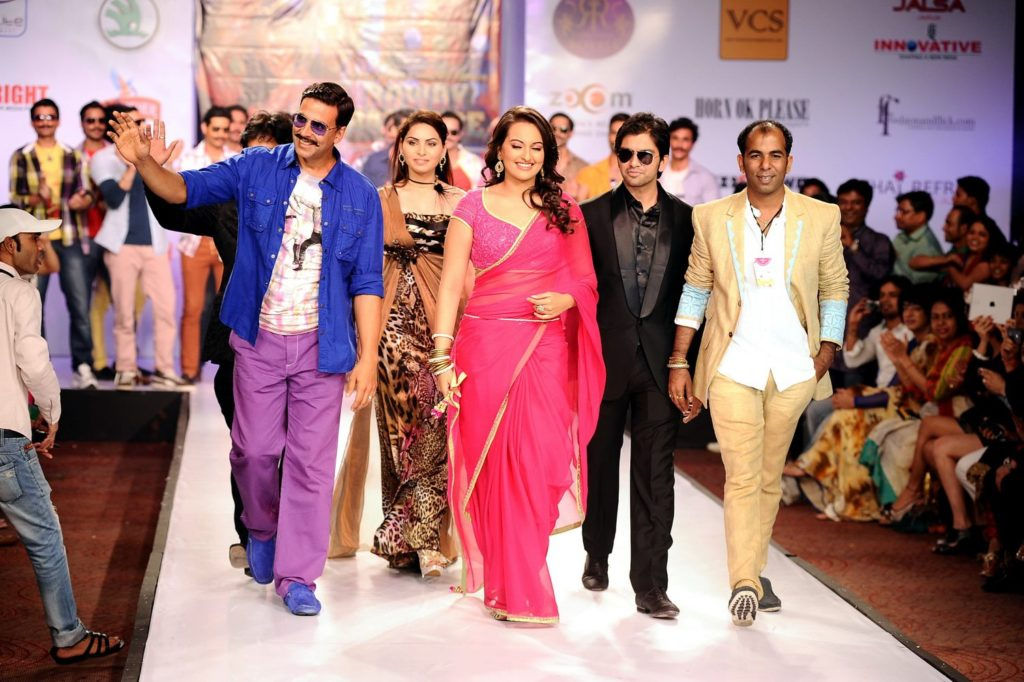 "Bollywood Actors Akshay Kumar and Sonakshi Sinha promoted their movie ""Rowdy Rathore"" walking the ramp as showstoppers for Sharad Raghav's ""Rowdy Rathore"" collection at the Rajasthan Fashion Week 2012"