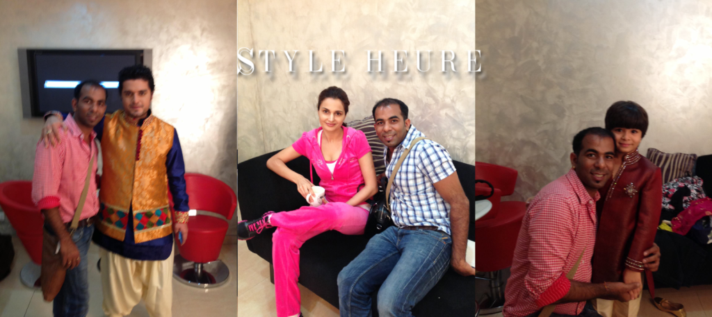 Star Parivar Awards 2013 - TV Stars: Harsh Vashisht (Left) and Shivansh Kotia (Right) wearing Sharad's designs. Monica Bedi (middle)